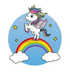 Cute unicorn jumping vector