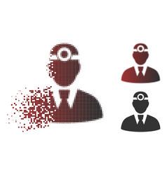 Damaged pixel halftone optician doctor icon vector