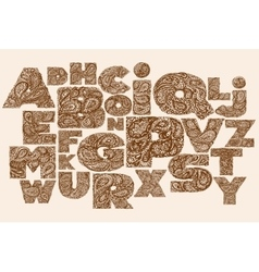 Decorative Alphabet with a paisley zen doodle vector image
