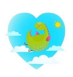 Dragon flying in sky fun cute cartoon vector