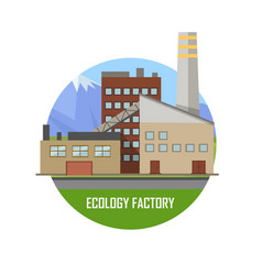 Ecology factory eco plant icon in flat style vector