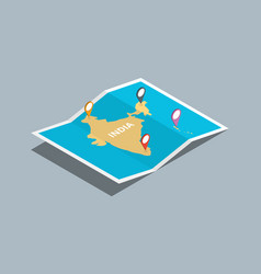 Explore india maps with isometric style and pin vector
