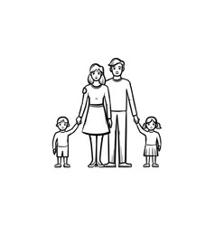 family relationship hand drawn sketch icon vector image