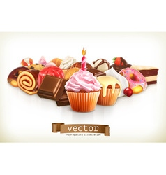 Festive cupcake with candle confectionery vector image