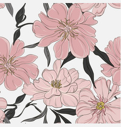 Floral garden peony background pastel neutral vector