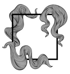 frame with wave line curls monochrome stripes vector image