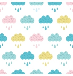 Fun Colorful Clouds Seamless Pattern vector