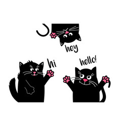 Funny black cats say hello when they meet funny vector