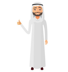 Glad young arab businessman showing thumb up vector