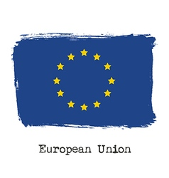 Grunge brush stroke ink of European Union flag vector image