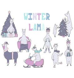 Hand-drawn set of cute colorful winter lamas vector