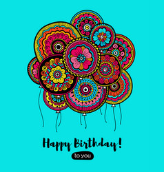 Happy birthday card with balloons indian pattern vector