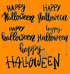 happy halloween of hand drawn lettering vector image