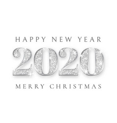 Happy new year and marry christmas 2020 silver vector