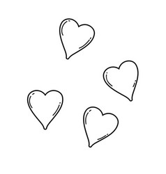 hearts cute cartoons in black and white vector image