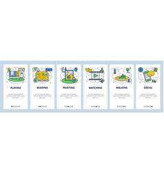 Hobwebsite and mobile app onboarding screens vector