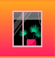 Home palm tree in window with blinds vector