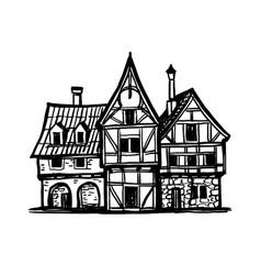 Ink sketch medieval european houses vector