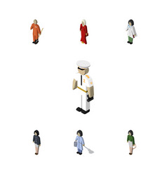 Isometric human set of doctor seaman cleaner and vector