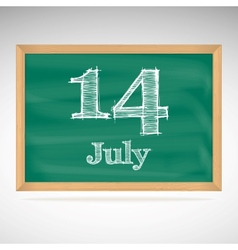 July 14 day calendar school board date vector