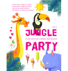 jungle patry exotic animals design template vector image