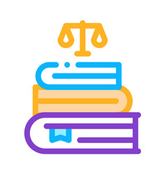Justice books law and judgement icon vector