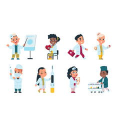 Kids doctors cute cartoon characters playing vector
