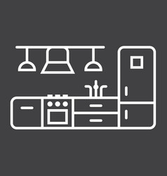 kitchen furniture line icon and interior vector image