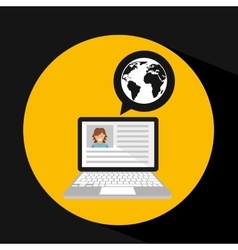 Laptop social profile globe icon vector