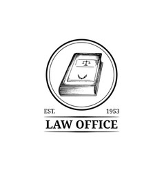 Law office symbol with code vector