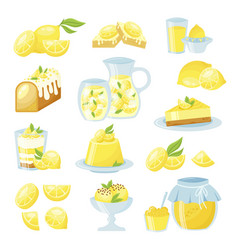 Lemon desserts flat isolated vector