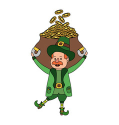 leprechaun with pot of gold vector image