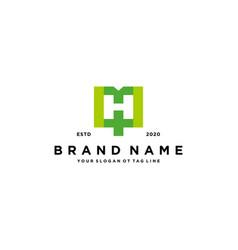 Letter h cross plus hospital medical logo design vector