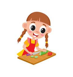 little girl cooking cutting cucumber for salad vector image