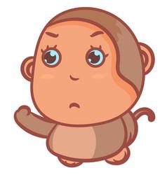Little monkey showing hand up gesture scene vector