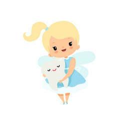 Little tooth fairy holding cute batooth lovely vector