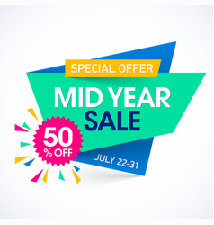 Mid year sale paper banner design template vector