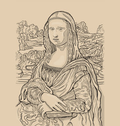 Monochrome of leonardo da vincis painting mona vector