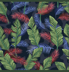 Multicolor tropical banana leaves seamless camo vector