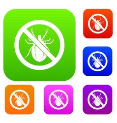 No bug sign set collection vector