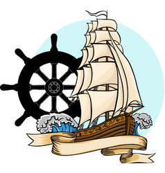 old ship flat cartoon vector image