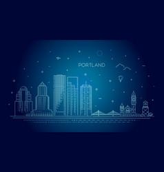 Oregon portland line skyline vector
