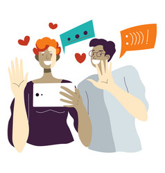 people using tablet or smartphone to talk vector image