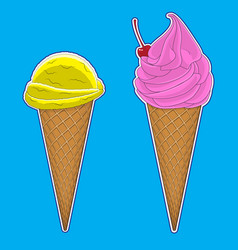 pink and yellowice ice cream in the horn image vector image