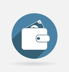 purse sign Circle blue icon with shadow vector image