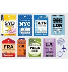 Retro baggage tags and travel stock vector