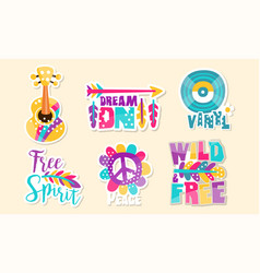 Retro hippie patches collection cute colorful vector