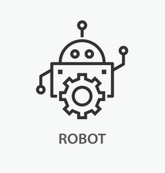 robot line icon on white background vector image