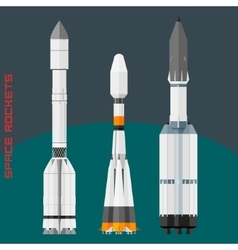 Russian space rockets set vector image