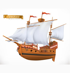 Sailing ship 3d icon vector